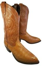 TONY LAMA MAN BOOTS WESTERN COWBOY TAN  EXOTIC LEATHER OSTRICH  US SIZE 9.5 EE