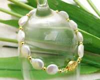 "SALE Big 10-11MM Natural White Coin Round Freshwater Pearl 7.5"" Bracelet -bra137"