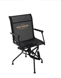 BLACK SWIVEL COMFORT CHAIR Padded Over-Sized Quiet Folding Deer Hunting Turkey