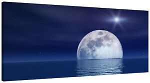 Purple Blue Moon Seascape Canvas Wall Art Print Panoramic Picture