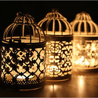 Metal Hollow Candle Holder Tealight Candlestick Hanging Lantern Bird Cage HC