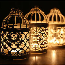 Hollow Candle Holder Tealight Candlestick Hanging Lantern Bird Cage Decor Metal