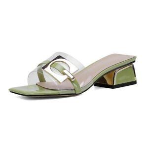 Women's Slip On Vogue Buckle Transparent  Sandals Block Low Heel Open Toe Shoes