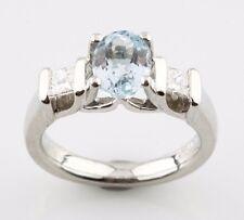 Platinum VERRAGIO 1.85 carat Oval Blue Topaz & Channel-Set Diamond Ring w/ CoA