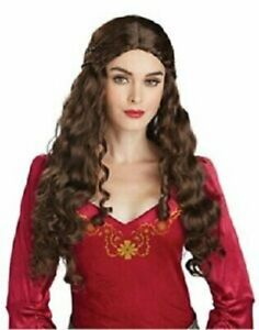 Adult Lady Guinevere Deluxe Costume Wig Long Brown Hair Renaissance Medieval