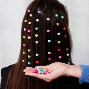 100x Mini Hair Claw Clips For Women Girls Cute Candy Colors Beads Headwear AU fj