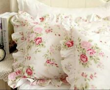 Country Rose Roses Pink Floral Print Pillowcases Shabby Chic Vintage Ruffles 1pc