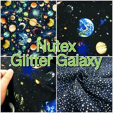 Nutex GLITTER GALAXY Space Planets Universe 100% Cotton Patchwork Craft Fabric