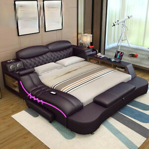 Smart electric big double leather bed modern widened master bedroom