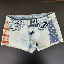 Mossimo Women's Fit 6 Patriotic Flag Denim Mini Jean Shorts Size 3 Stretch