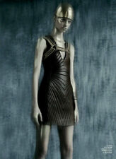 TOM FORD $6436 quilted stretch leather deep v-neck bodycon mini dress 42 NEW