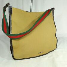 Authentic Rare Vintage Gucci Khaki Brown Canvas Medium Shoulder Handbag Purse