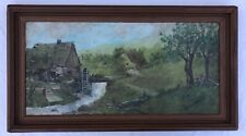Gristmill Watermill Impressionism Vintage Antique Early 1900s Landscape Canvas
