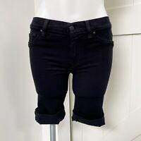 Hudson Women's Black Denim Amelia Bermuda Raw Hem Roll Shorts Size 26 Low Rise