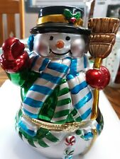 Vintage Snowman Music Box with Moving Skating scene