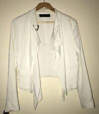 Zara Women White Cropped Blazer Bloggers Size M
