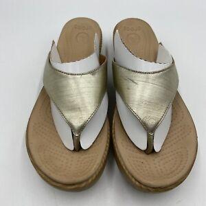 Crocs Wedge Flip Flop Thong Sandals Women's Size 10 Gold Strap Faux Wood Heel