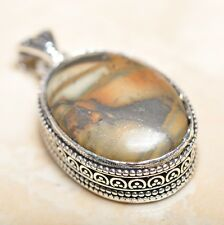 "Handmade Petrified Wood 925 Sterling Silver Vintage Design Pendant 2"" #P13977"