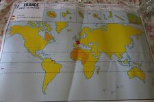 VINTAGE FRENCH ART POSTER DBLE SIDED MAP FRANCE RAILWAY SCHOOL CLASSROOM 80's