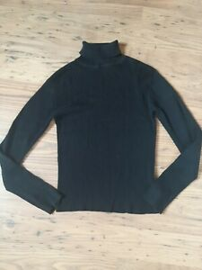 Ladies Ribbed Polo-Neck Jumper - Black. Size 12