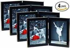 5x7 Folding Picture Frames (4-Pack) Wood w/ Glass Front - Black Bifold Double