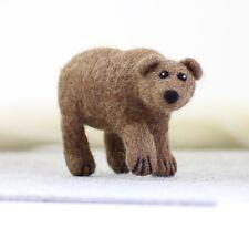 Needle Felting Kit - Grizzly Brown Bear - British Wool Design Craft Gift Make