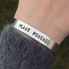 Vegan Bracelet Plant Powered Silver Cuff Bracelet Handmade Jewellery