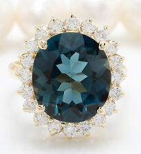 9.94 CTW Natural London Blue Topaz and Diamonds in 14K Solid Yellow Gold Ring