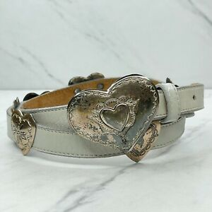 Justin Gray Vintage 1991 Top Grain Cowhide Leather Heart Concho Belt Size 32