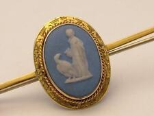 Antique Victorian/Edwardian Wedgewood Jasperware 9ct Engraved Gold Brooch/Pin