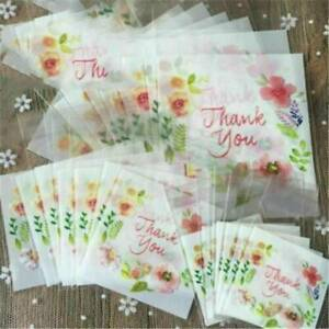 100pc Plastic Thank You Flower Cookie Package Candy Floral Bag Self-Adhesive Lot