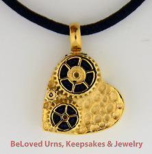 Gold Heart With Gears Jewelry Keepsake Pendant Urn with Silk Necklace - Funnel
