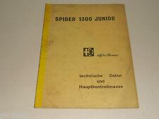 Werkstatthandbuch Alfa Romeo SPIDER 1300 Junior  - Technische Daten, Stand 1968
