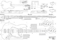 Fender Bass electric Guitar Plans -  full scale -  detailed technical plans