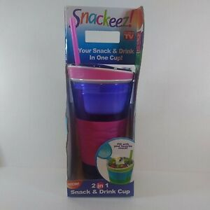 New Snackeez! 2-in-1 Drink and Snack Cup Purple Pink As Seen On TV 16 oz Cup
