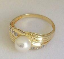 7mm cultured pearl and diamond 14K yellow gold ring $550 NWT