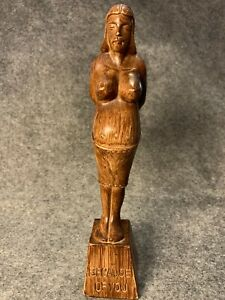"""Vintage Filipino Wood Carving of Pregnant Woman """"Because Of You"""""""
