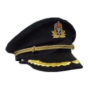 Black Yacht Captain Skipper Navy Sailor Boat Cap Hat Costume Adjustable Size New