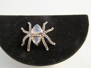 14K White Gold and Blue Chalcedony and Amethyst Spider Pin  - Wow!