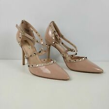 WOMENS PRIMARK FAUX PATENT BUCKLE STRAP STUDDED HIGH HEELS SHOES UK 6 EU 39