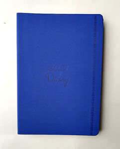 2021 Diary A5 Day To Page PU Felt w Colour Edge Womens' Girls' Diary -Royal Blue