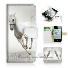 ( For iPhone 4 / 4S ) Wallet Case Cover! White Horse P0341
