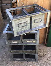 2 & Frame  Vintage Old Storage Metal Factory Box Crate Planter Stacking - 1 Of 7