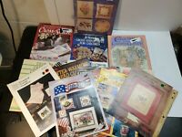 Lot of Cross Stitch Charts / Patterns - 16 Total Items leaflets and hard covers.