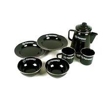 Petromax Geschirr Set: 1 Perkolator, 2 Becher, 2 Teller, 2 Schalen, schwarz!