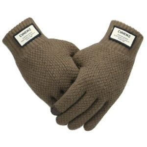 Men`s Warm Soft Lining Knitted Touch Screen Gloves Winter Autumn Classic Mittens