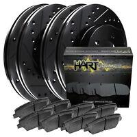 [FRONT+REAR KIT] Black Hart *DRILLED & SLOTTED* Brake Rotors +Ceramic Pads C1857