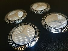 4x Mercedes Benz STICKERS ONLY Wheel Centre Cap Sticker Set of 56mm MB A E S NL