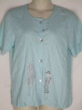Lonnie G Star Country Wear 2000 Blue Shirt Blouse Top L Linen Blend  Fashion