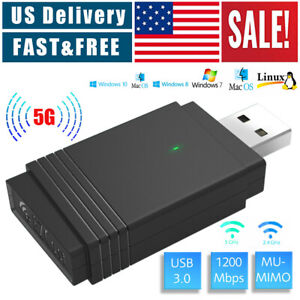 1200Mbps Wireless WiFi Adapter USB 3.0 Dongle Dual Band 5G/2.4G Bluetooth 5.0 PC
